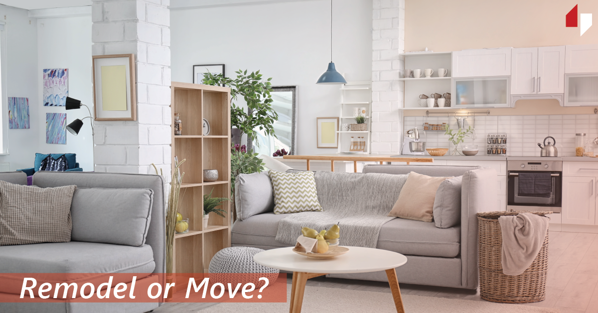 "Bring, airy living room with the caption ""Remodel or Move?"""